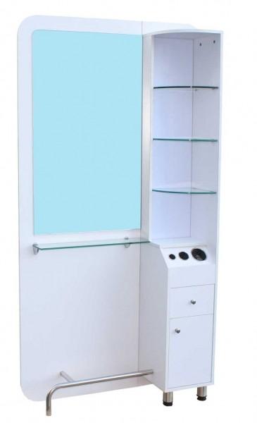 1387 Arbeitsplatzspiegel mit Schubladen, Ablage, LED-Regal, Fönhalter, Fußstütze weiß