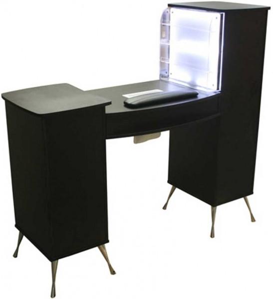 1920 ManikŸretisch m. Absaugung und LED-Rack Laminat schwarz