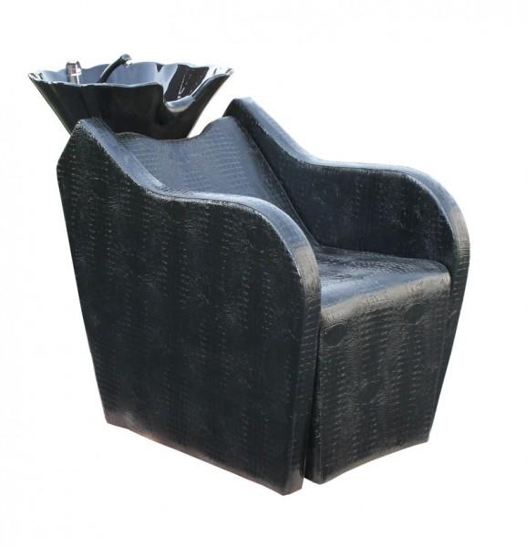 1308 Rückwärtswaschsessel RAGUSA elektrisch schwarz, Becken schwarz