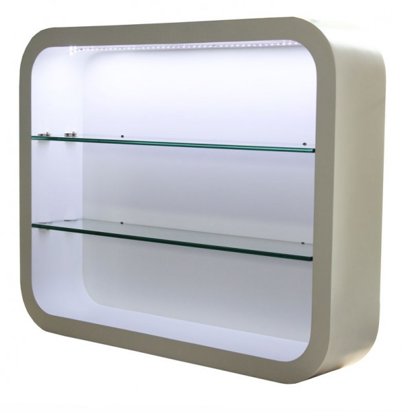 2032 Wandvitrine LOCARNO mit LED Schleiflack weiss
