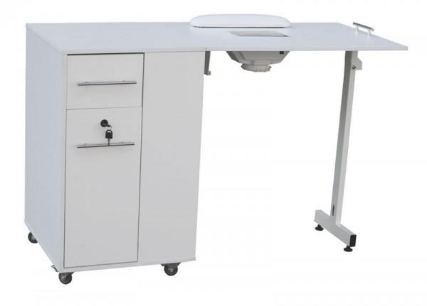 2066 Raumspar-Manikürtisch mit Absaugung weiß, Tischplatte klappbar