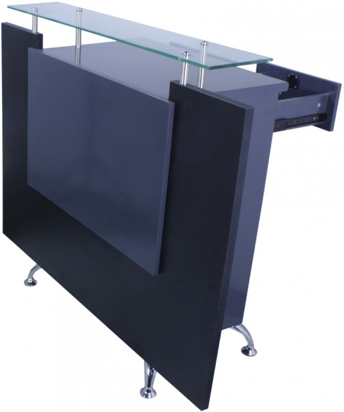 1462 Rezeption Frontplatte LED-backlight Laminat schwarz, Korpus anthrazit + Glas