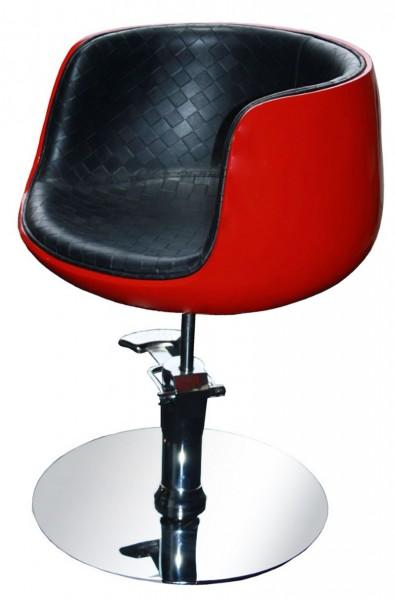 1895 Friseurstuhl PALIANO Rahmen rot, PVC schwarz (B-Ware)