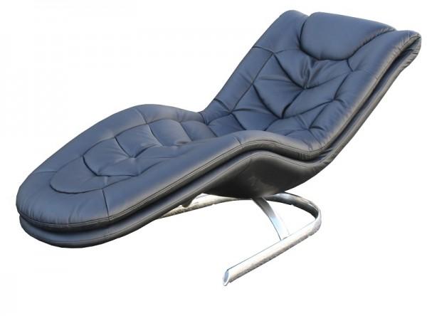 1260 Relax-Liege schwarz mit Chromsockel