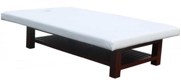 1267 Thai-Massagetisch BTH 190 x 120 x 45 cm Sockel holz Bezug weiß