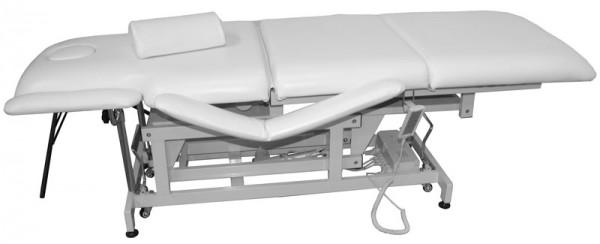 1600 Behandlungsliege elektrisch mit Heizung, Sockel weiß Bezug weiß