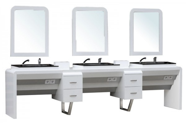 4511 System-Arbeitsplatz ORISTANO (Erweitertes Modul 3er) Schleiflack weiss
