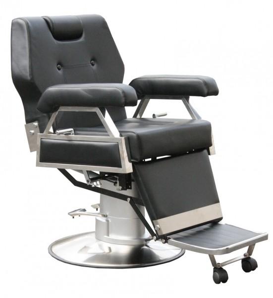 2067 Friseur Herrenstuhl elektrisch CORLEONE schwarz, Sockel rund 60cm mit Steckdose