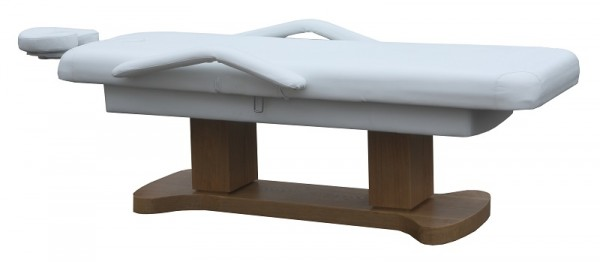 1265 Stationäre Luxus elektro-2-Säulen Massageliege Sockel holz Bezug weiß