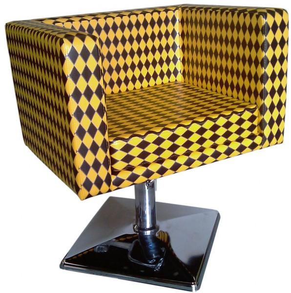 1374 Friseurstuhl MASSA schwarz-gelb karo