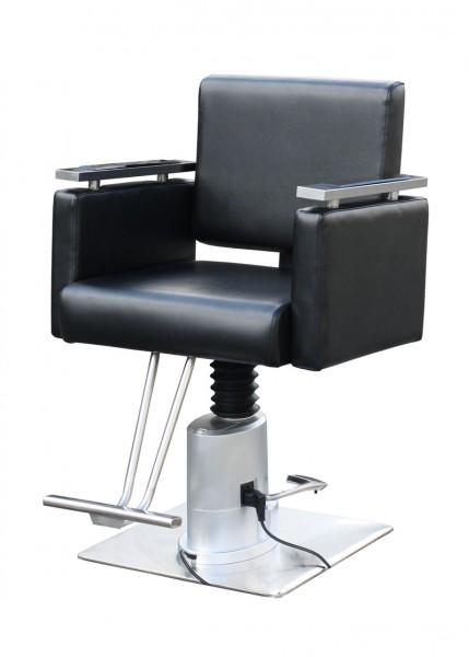 2068 Friseur Herrenstuhl elektrisch PESARO schwarz, Sockel quadrat 50cm mit Steckdose